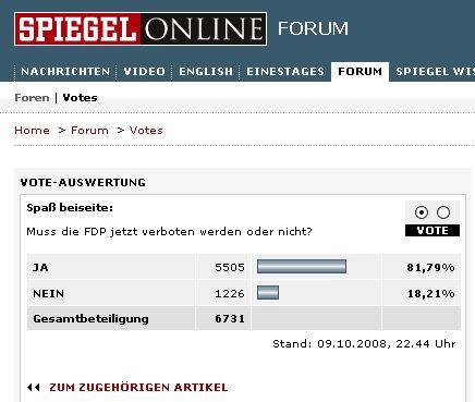 FDP-Verbot, Abstimmung auf SpOn