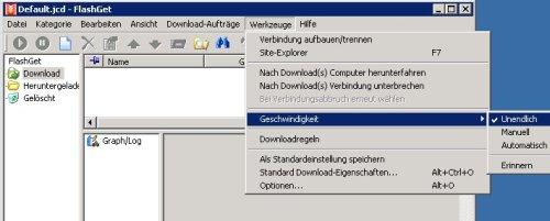 Unendliche Geschwindigkeit beim Download via FlashGet