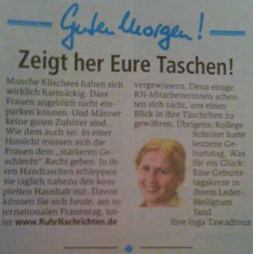 Weltfrauentag in den Ruhrnachrichten