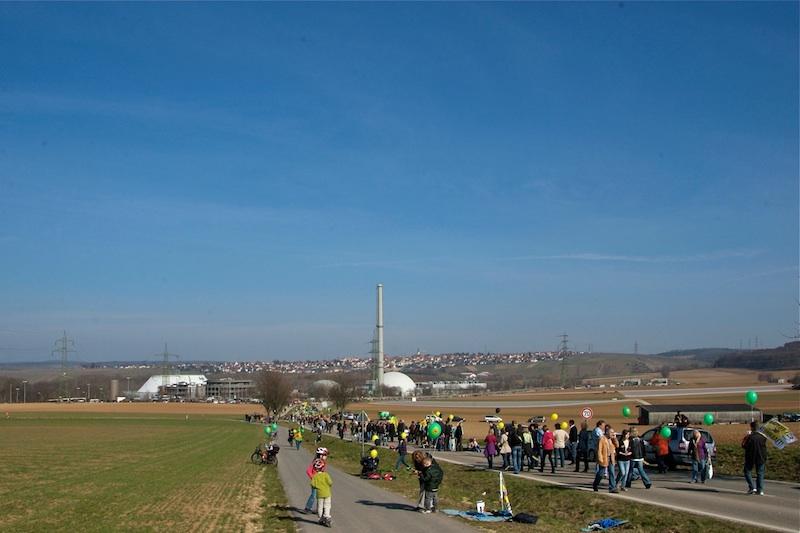 Menschenkette zum GKN, Anti-AKW-Demo 12.3.2011