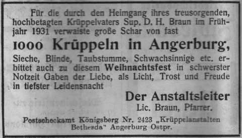 Krüppel und Weihnachten 1931