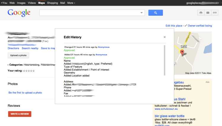 Google Places Edit History im Maps-Frontend