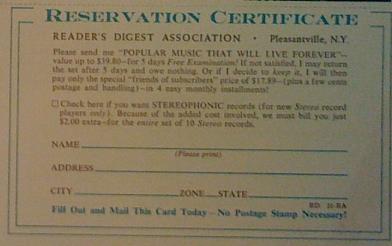 Readers Digest, Schallplatten-Bestellformular aus den 50ern