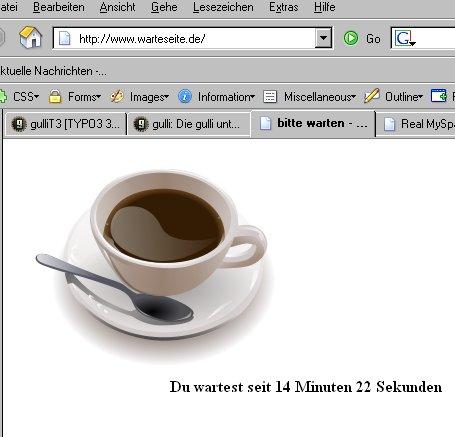 Warteseite mit Kaffee