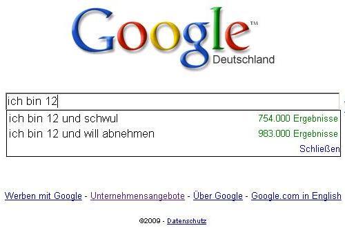 Google Suggest: Ich bin 12