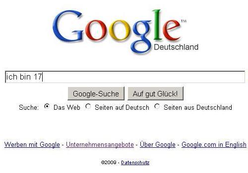 Google Suggest: Ich bin 17