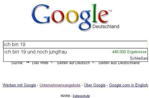 Google Suggest: Ich bin 19