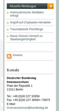 Linksgrünes Agendasetting des Innenausschusses, Screenshot 17.04.2015