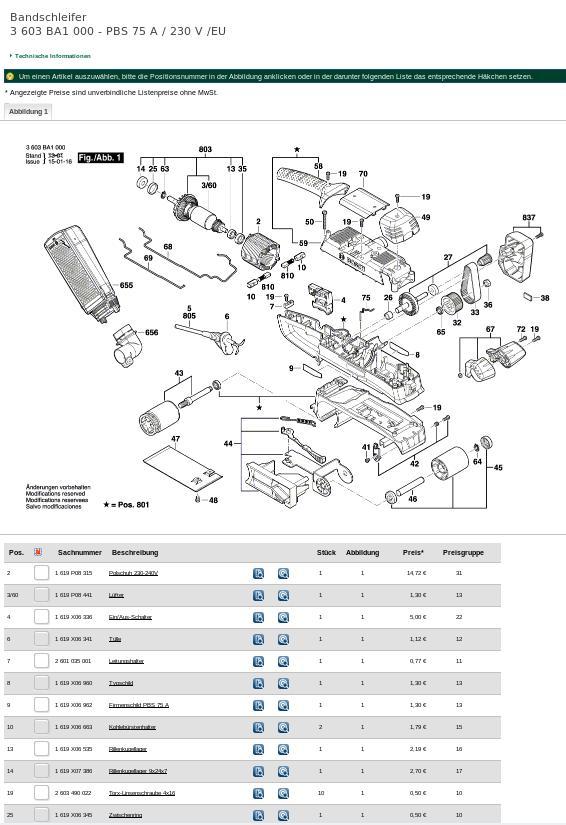 Ersatzteil-Übersicht bei Bosch