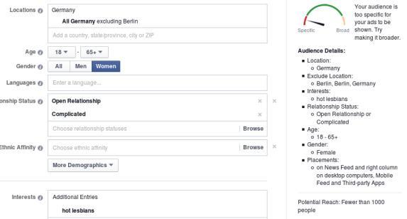 Typische Facebook-Werbezielgruppe