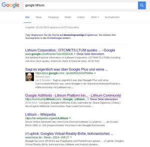 """Suche nach """"Google Lithium"""", .de, 01/2016"""