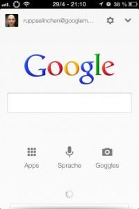 Google Now für iOS, Startscreen