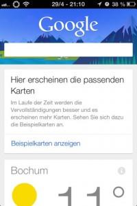Google Now, Karten