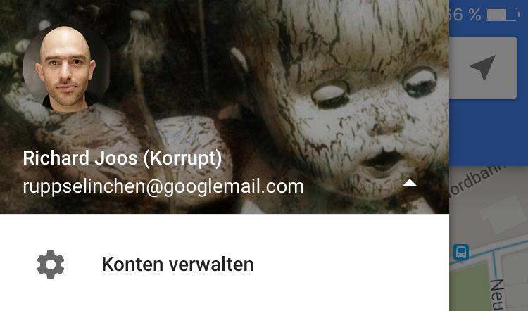 Kontoverwaltung antippen...