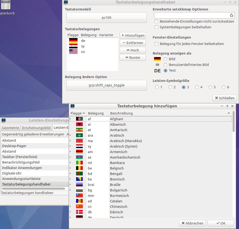 Lubuntu 16.10, Tastaturbelegungen hinzufügen