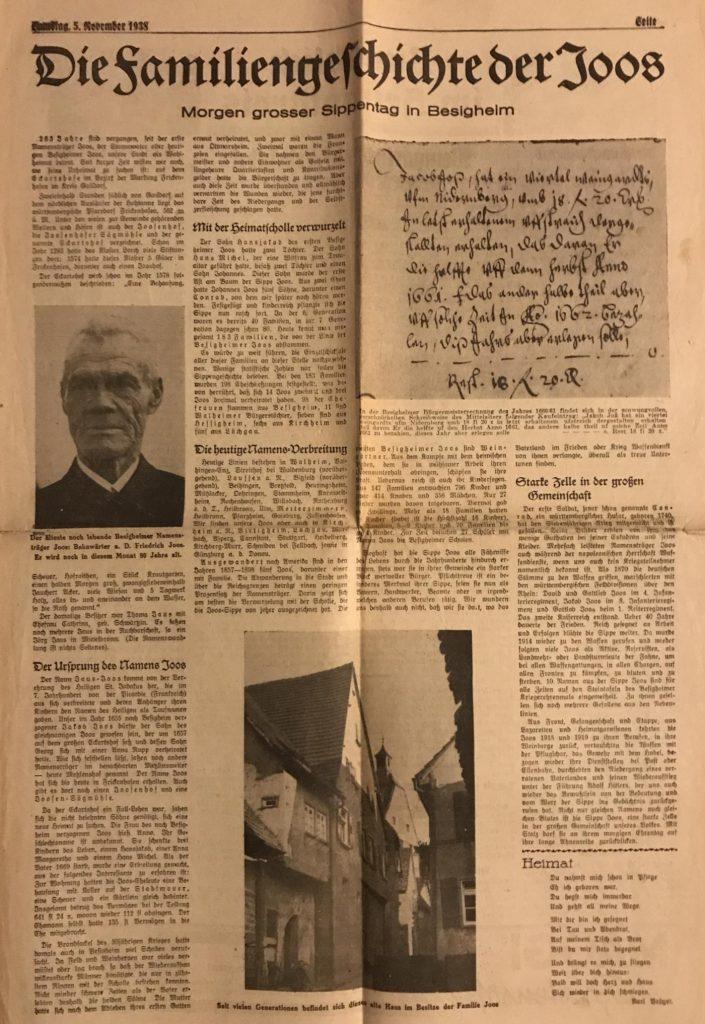 Die Sippengeschichte der Joos, Stand 1938