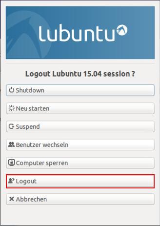 Lubuntu - Abmelden, nicht Benutzer wechseln