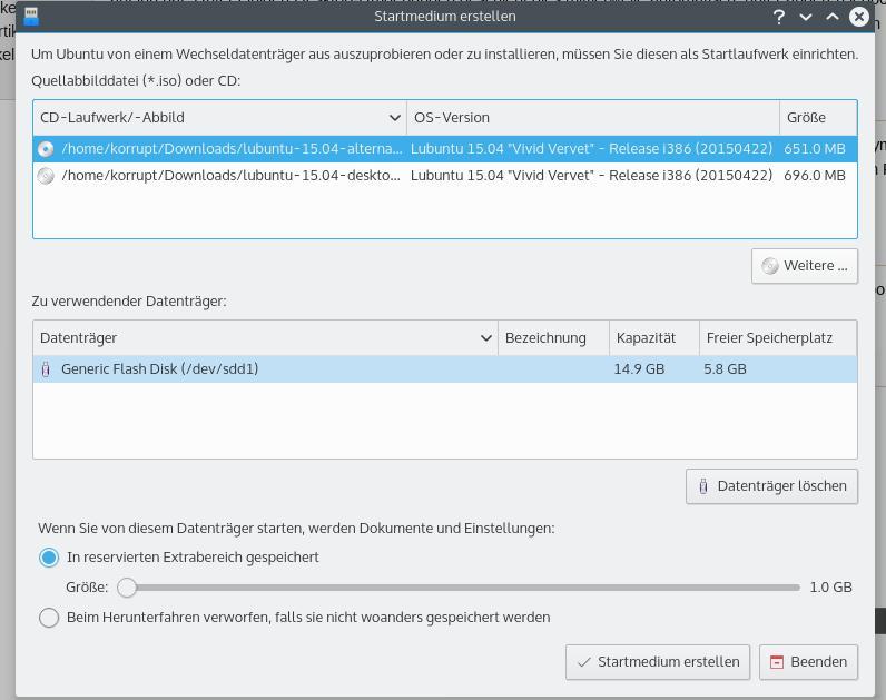 Lubuntu-Startmedium erstellen