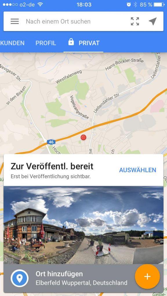 StreetView-App starten, gelbes Plus antippen
