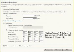 IP-Adressen für den internen Router hinter dem Fritzbox-Kabelmodem