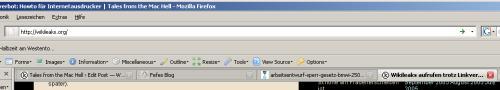 Howto: Textlinks von wikileaks per Copy und Paste aufrufen - Schritt vier: Browserzeile