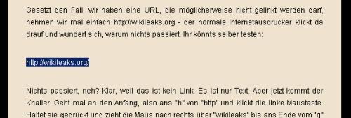 Howto: Textlinks von wikileaks per Copy und Paste aufrufen - Schritt eins: Markieren