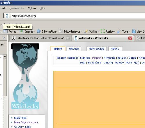 Howto: Textlinks von wikileaks per Copy und Paste aufrufen - Schritt fünf: Seitenaufruf